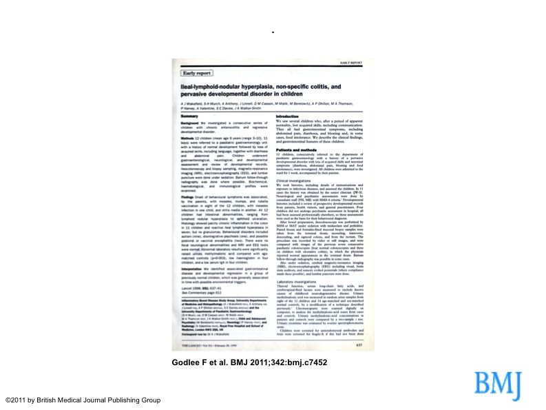 1998 lancet page upon autism