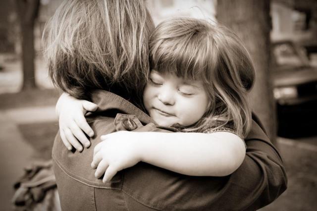 Polly and mom hug